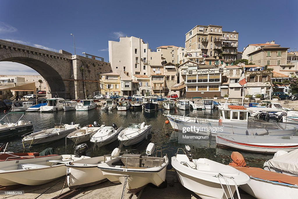 The Vallon des Auffes, a small fishing port : ストックフォト