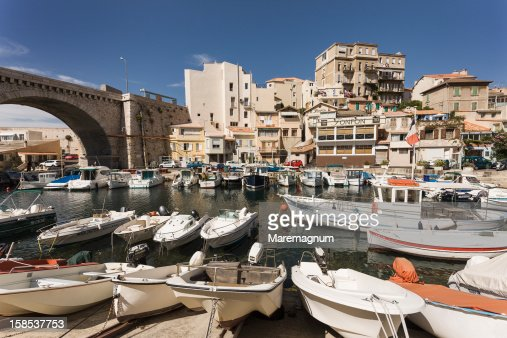 The Vallon des Auffes, a small fishing port : Stock Photo