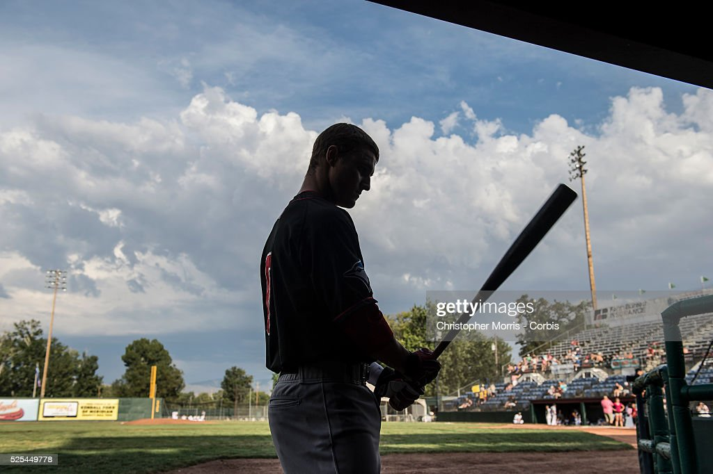 The Vancouver Canadians catcher, and first round draft choice, Max Pentecost, before his at bat in Boise, Idaho.