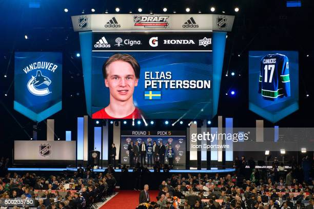 The Vancouver Canucks select center Elias Pettersson with the 5th pick in the first round of the 2017 NHL Draft on June 23 at the United Center in...