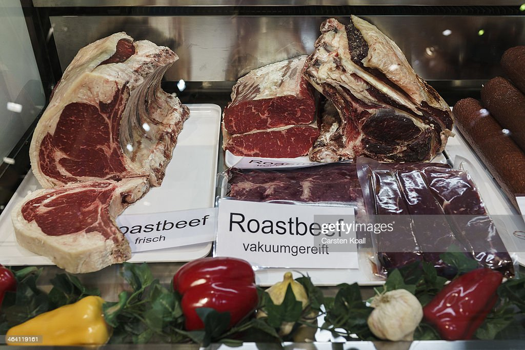 The variety matured roastbeef lying in a showcase at a stand at the Gruene Woche agricultural trade fair on January 20, 2014 in Berlin, Germany. The Gruene Woche is the world's largest agricultural trade fair and is open to the public until January 26.