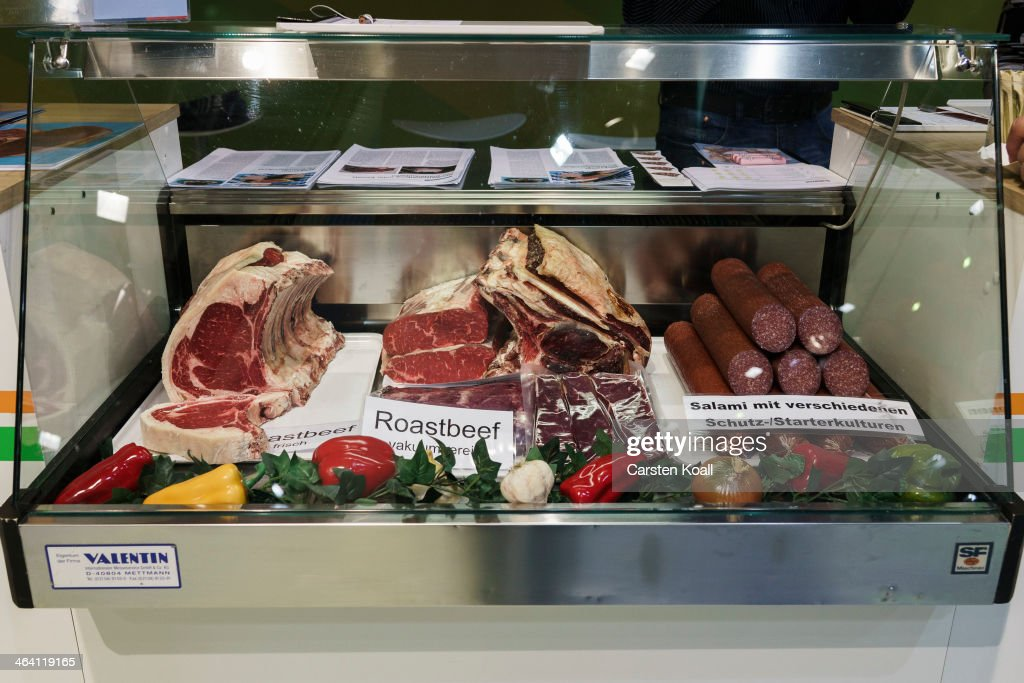 The variety of matured roastbeef and salami lying in a showcase at a stand at the Gruene Woche agricultural trade fair on January 20, 2014 in Berlin, Germany. The Gruene Woche is the world's largest agricultural trade fair and is open to the public until January 26.