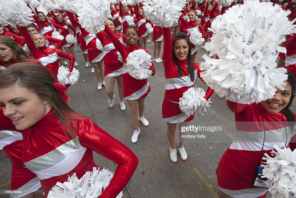 The Varsity Spirit Cheerleaders make their way down Sixth Avenue during the 86th Annual Macy's Thanksgiving Day Parade on November 22, 2012 in New York City. Macy's donated tickets and transportation to this year's Thanksgiving Day Parade to 5,000 people from neighborhoods hardest hit by Superstorm Sandy.