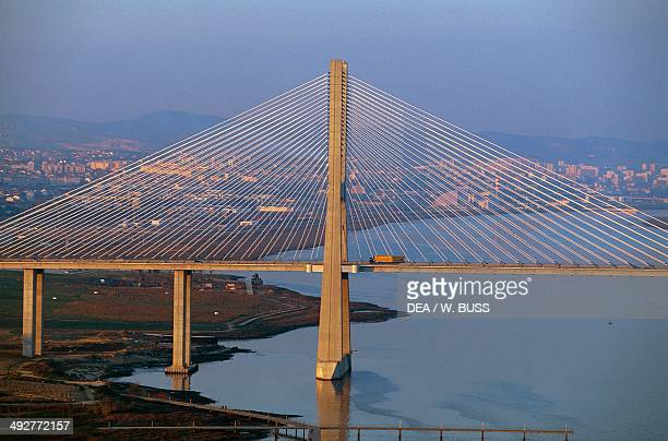 The Vasco da Gama bridge over the Tagus river which connects Montijo and Sacavem Lisbon Portugal