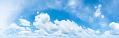 The vast blue sky and clouds sky. blue sky background with tiny clouds. panorama