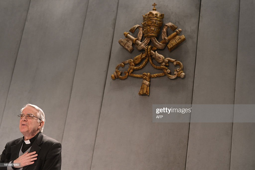 The Vatican's spokesman Federico Lombardi takes place for a press conference on February 12, 2013 at the Vatican. Lombardi said that Pope Benedict XVI will bid his followers farewell in a final audience in St Peter's Square on February 27, the day before he officially steps down.