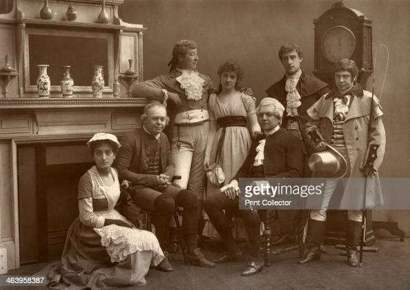 The Vaudeville Company in 'The Road to Ruin' at the Vaudeville Theatre London 1886 Back Charles Warner Kate Rorke Fuller Mellish Fred Thorne Bottom...