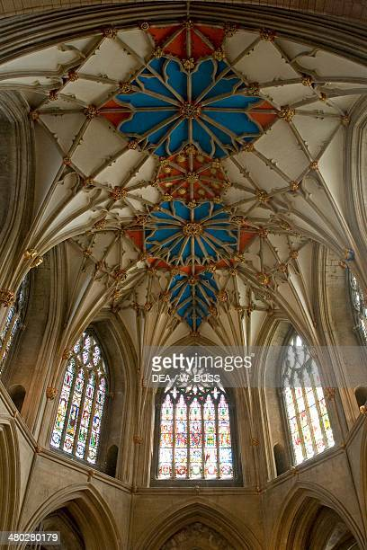 The vault of the chancel of Tewkesbury abbey Romanesque style Gloucestershire United Kingdom