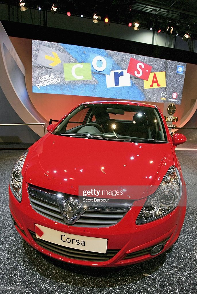 The Vauxhall/Opel Corsa sits on display as it makes it's world preview at the British International Motor Show on July 18 2006 in London England For...