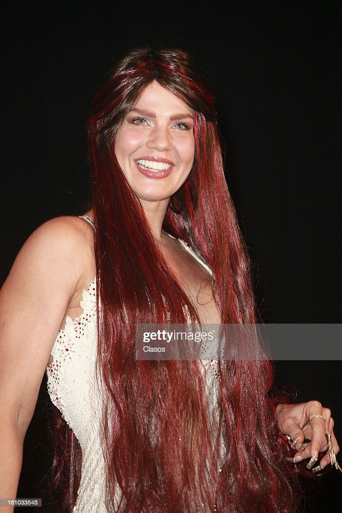 The vedette Niurka Marcos poses during a press conference at the theater Venustiano Carranza the February 8, 2013 in Mexico City, Mexico.