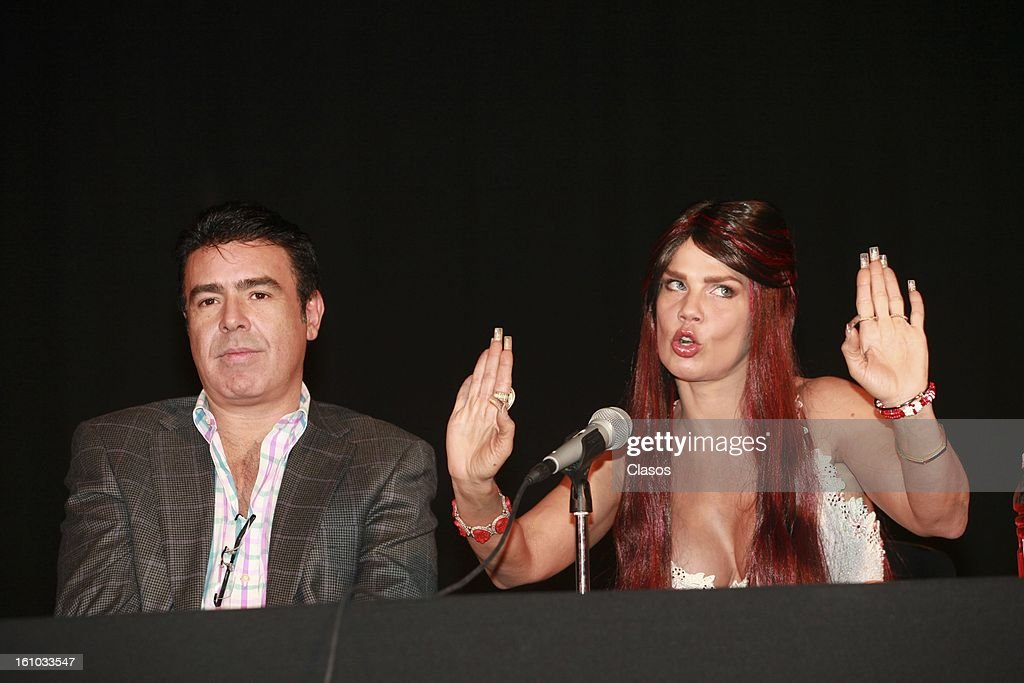 The vedette Niurka Marcos speaks during a press conference at the theater Venustiano Carranza the February 8, 2013 in Mexico City, Mexico.