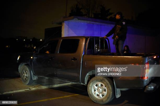 The vehicle carrying Javier Duarte former governor of the Mexican state of Veracruz is seen in an autopatrol following his arrest upon arrival at the...