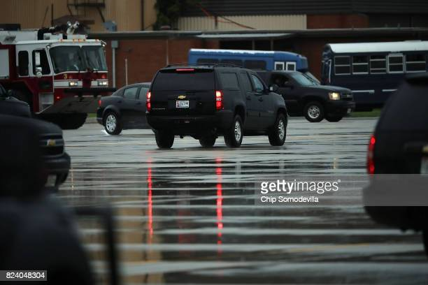 The vehicle carrying outgoing White House Chief of Staff Reince Priebus leaves ahead of the presidential motorcade July 28 2017 in Joint Base Andrews...