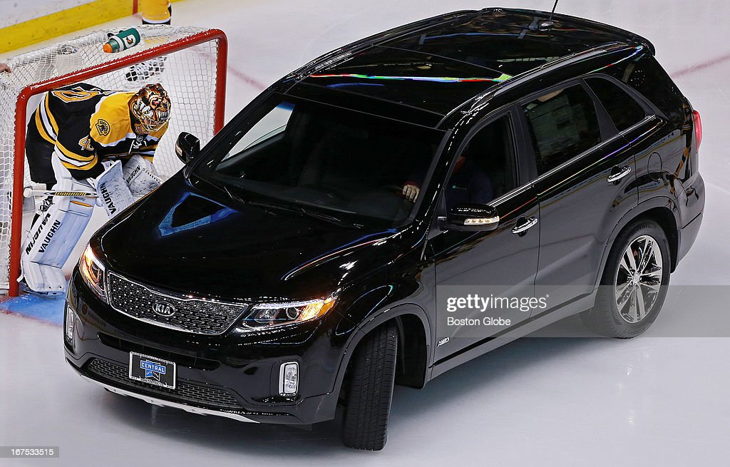 The vehicle that was on the ice for the pre-game Seventh Player Award ceremony. The Boston Bruins hosted the Tampa Bay Lightning in a regular season NHL game at the TD Garden.