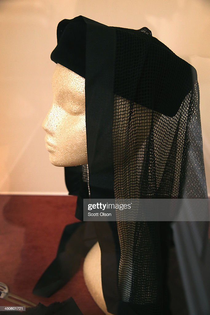 The veil and hat worn by Jackie Kennedy, U.S. President John F. Kennedy's widow, to his funeral is displayed at the Historic Auto Attractions museum on November 19, 2013 in Roscoe, Illinois. The museum has a large collection of items from Kennedy's life and death on display. It will be fifty years since John F. Kennedy was assassinated on November 22, 1963.
