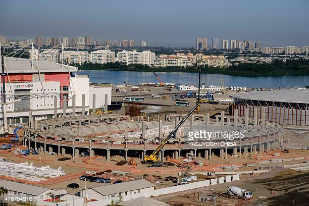 The Velodrome for track cycling under construction at the Olympic Park in Rio de Janeiro Brazil on June 11 2015 AFP PHOTO / YASUYOSHI CHIBA