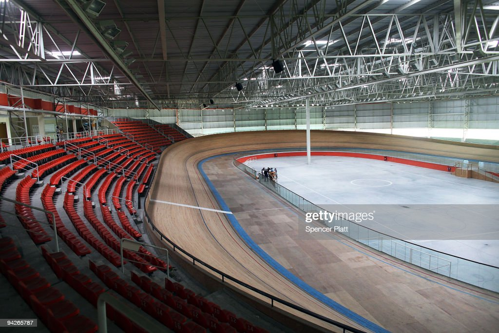 The velodrome is void of people December 10 2009 in Rio de Janeiro Brazil The seating capacity of the velodrome will be expanded before track cycling...