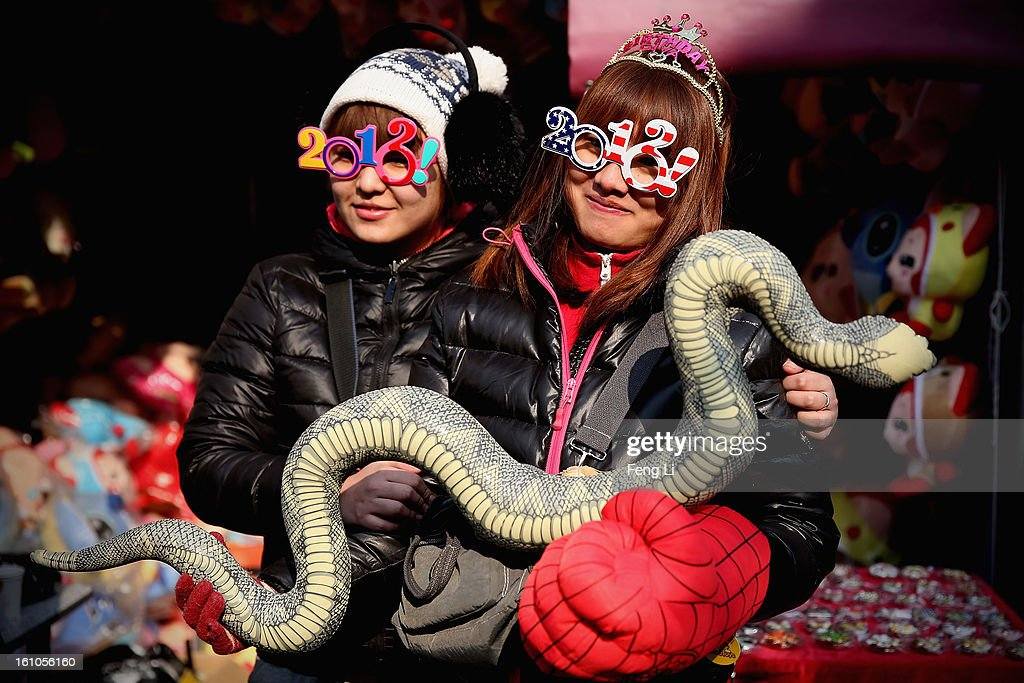 The vendors show the toy of snake at the Spring Festival Temple Fair for celebrating Chinese Lunar New Year of Snake at the Temple of Earth park on February 9, 2013 in Beijing, China. The Chinese Lunar New Year of Snake also known as the Spring Festival, which is based on the Lunisolar Chinese calendar, is celebrated from the first day of the first month of the lunar year and ends with Lantern Festival on the Fifteenth day.