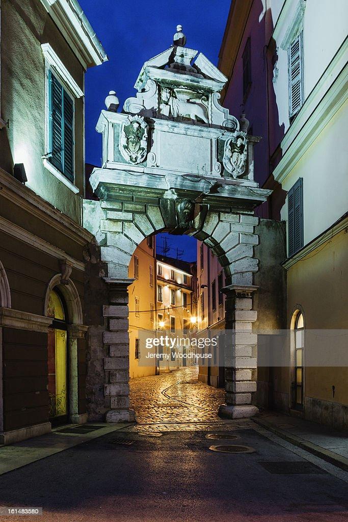 The Venetian Balbi Arch at dawn : Stock Photo