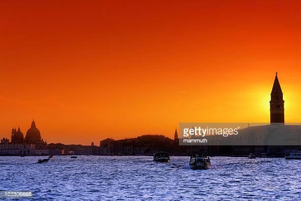 La laguna di Venezia al tramonto