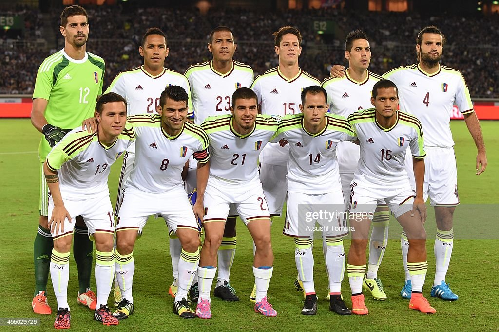 The Venezuela team lines up for a photograph during the KIRIN CHALLENGE CUP 2014 international friendly match between Japan and Venezuela at the...