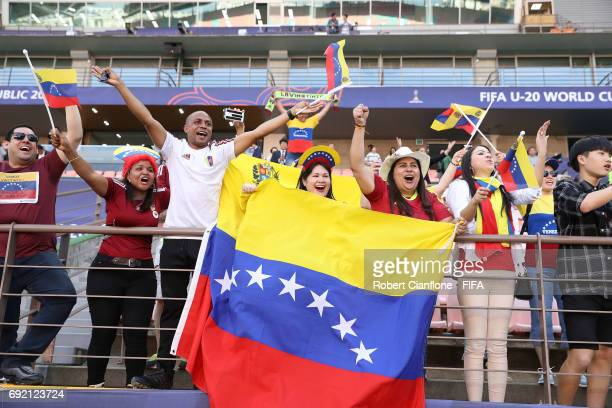 The Venezuelan fans celebrate after Venezuela defeated the USA during the FIFA U20 World Cup Korea Republic 2017 Quarter Final match between...