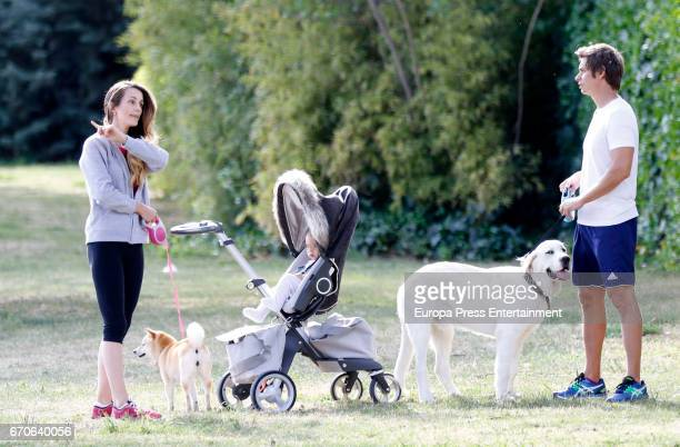 The Venezuelan singer Carlos Baute his wife Astrid Klisans and their son Markuss Baute are seen on April 19 2017 in Madrid Spain