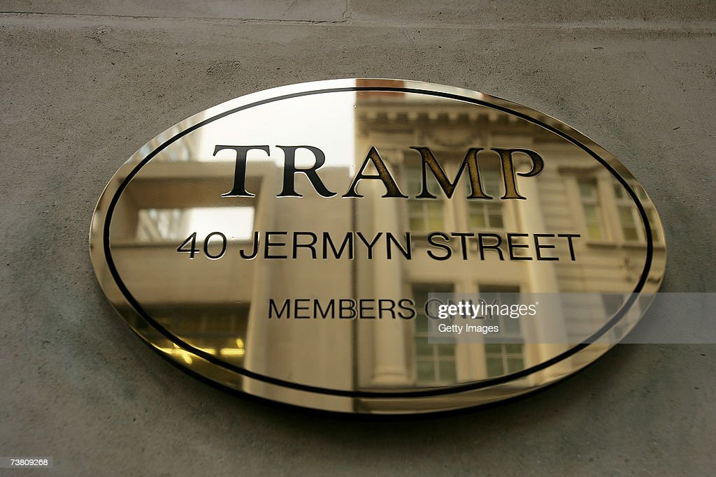 The venue name is displayed on the exterior of Tramp Jermyn Street on April 4 2007 in London England