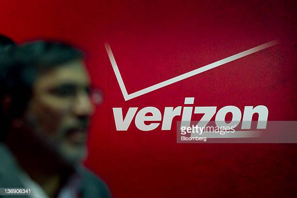 The Verizon Communications Inc logo is seen at the International Consumer Electronics Show in Las Vegas Nevada US on Thursday Jan 12 2012 The 2012...