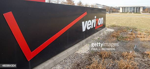 The Verizon logo is seen at the headquarters for Northern Virginia on January 2 2015 in Ashburn Virginia Thousands of hightech terminals offering...