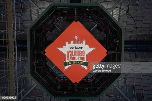 The Verizon WNBA All Star logo on the bottom of the Jumbotron efore the game between the Eastern Conference AllStars and the Western Conference...