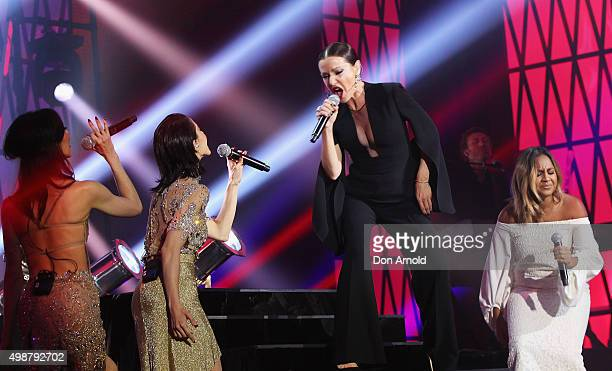 The Veronicas perform alongside Tina Arena and Jessica Mauboy during the 29th Annual ARIA Awards 2015 at The Star on November 26 2015 in Sydney...