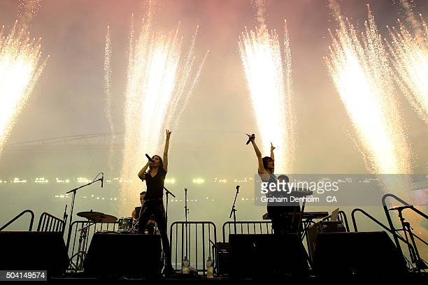 The Veronicas perform during the Big Bash League match between the Melbourne Renegades and the Melbourne Stars at Etihad Stadium on January 9 2016 in...