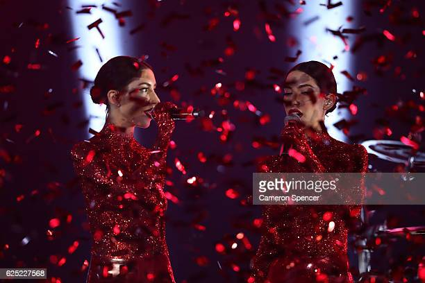 The Veronicas perform on stage during the 30th Annual ARIA Awards 2016 at The Star on November 23 2016 in Sydney Australia