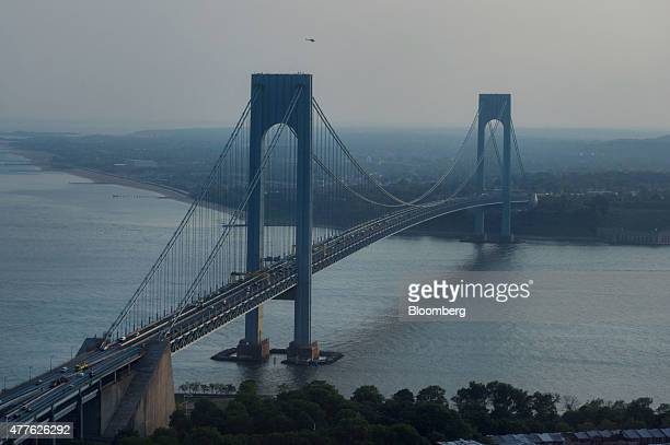 The VerrazanoNarrows Bridge stands in this aerial photograph taken above the Brooklyn borough of New York US on Wednesday June 10 2015 US stocks...