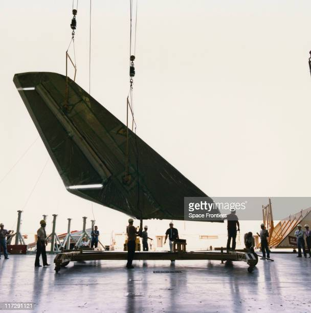 The vertical stabiliser of the Orbiter OV105 space shuttle later named 'Endeavour' under construction at a portable work station at the NASA/Rockwell...