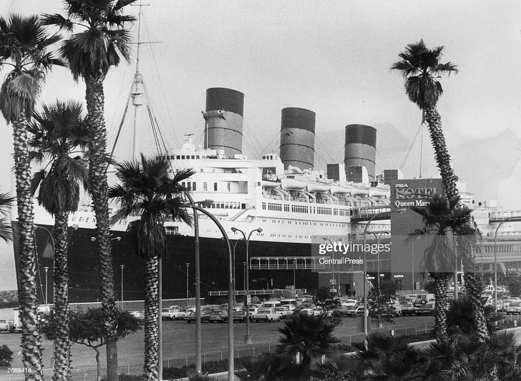 The veteran Cunard White Star liner Queen Mary, now converted to a floating museum, hotel and shopping centre at Long Beach, California. The Americans purchased the vessel in 1967 and spent ?16,500,000 transforming it into a luxury entertainment centre.