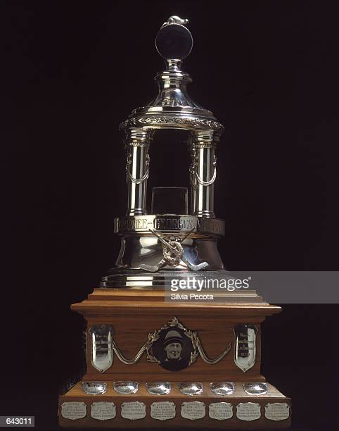 The Vezina Trophy is presented yearly to the Top Goalie in the League by the National Hockey League as pictured on January 01 2001
