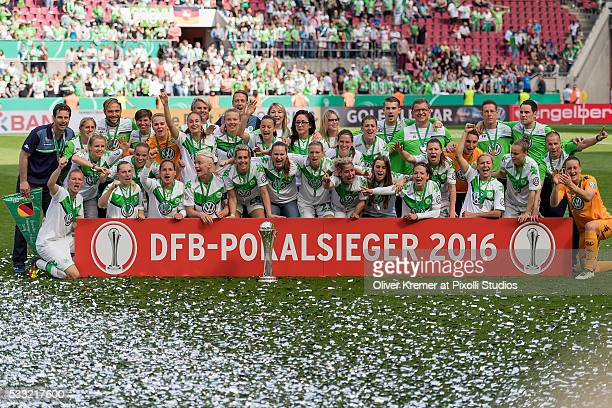 The VFL Wolfsburg posing for the Press Picture at Rhein Energie Stadion during the Women's DFB Cup Final 2016 match between SC Sand and VFL Wolfsburg...