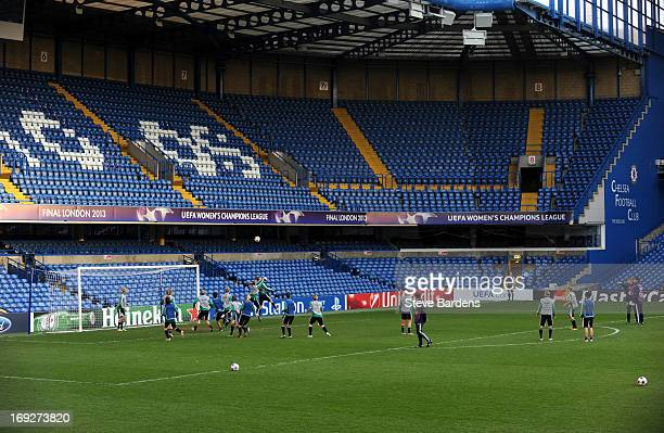 The VfL Wolfsburg team train at Stamford Bridge ahead of the UEFA Women's Champions League Final at Stamford Bridge on May 22 2013 in London England