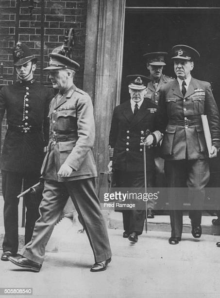 The Vice Chiefs of Staffs pictured leaving 10 Downing Street following a Cabinet Meeting Colonel Sir John Dill Vice Admiral Tom Phillips and Air...