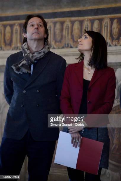 The Vice Mayor and councilor for culture Luca Bergamo and the mayor of Rome Virginia Raggi during the presentation of the restoration of the Orazi...