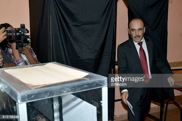 The Vice Secretary General of Morocco's Party of Authenticity and Modernity Ilyas el Omari cast his vote during the parliamentary elections at a...