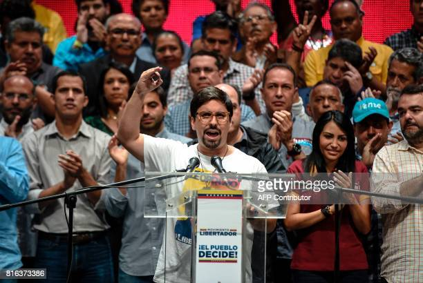 The vicepresident of Venezuela's National Assembly Freddy Guevara talks during a meeting in Caracas on July 17 2017 The Venezuelan opposition called...
