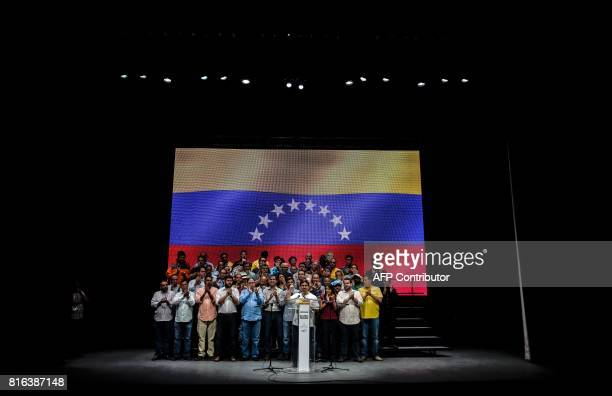 The vicepresident of Venezuela's oppositioncontrolled National Assembly Freddy Guevara talks during a meeting in Caracas on July 17 2017 The...