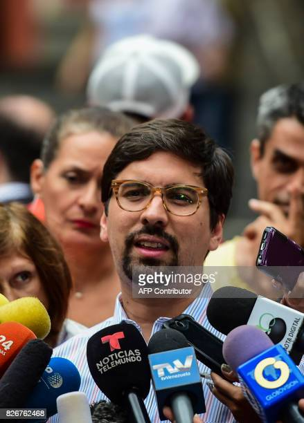 The vicepresident of Venezuela's oppositioncontrolled National Assembly Freddy Guevara speaks during a press conference in Caracas on August 5 after...