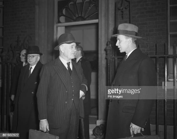 The Viceroy of India Lord Wavell in talks with his private secretary GEB Abell as they leave No 10 Downing Street in London Important discussions...