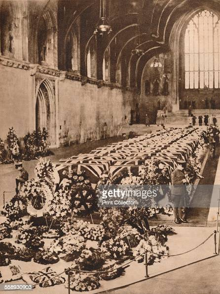 The victims of the R101 airship disaster lying in state in Westminster Hall London 1930 The airship crashed in France on its maiden overseas flight...