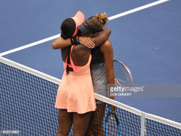 The victor Sloane Stephens of the US and compatriot Madison Keys embrace at the net following their US Open Women's Singles Final match Septmber 9...