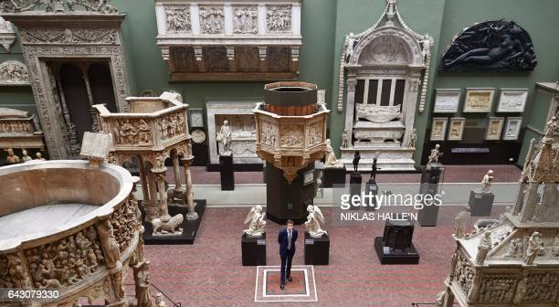 The Victoria Albert Museum's newly appointed Director Tristram Hunt poses for photographers during a photocall at the museum in London on February 20...